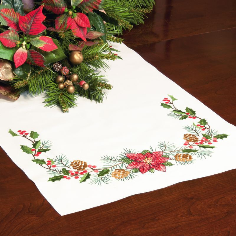 Dimensions chemin de table pr t broder plantes de no l - Chemin de table de noel ...