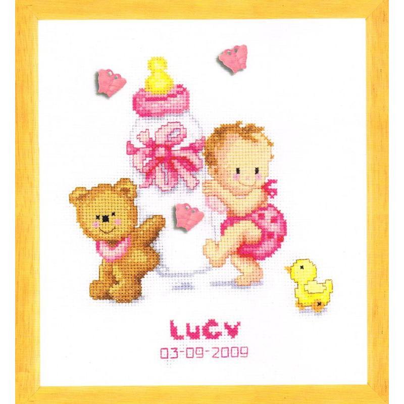 Vervaco tableau de naissance fille 0012677 kit - Tableau de naissance point de croix gratuit ...