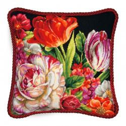 Vervaco  kit  Coussin  tapisserie sur canevas  Bouquet sur fond noir | Dimensions  71-20079 | Broderie du monde