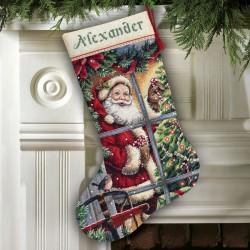 Chaussette  Canne  en  sucre  Père Noël  8778  Dimensions