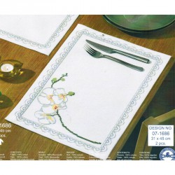 Permin | kit  Sets de Table Orchidée blanche | Permin  07-1686 | Broderie du monde