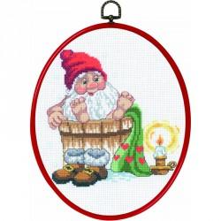Permin | kit  Père Noël prend un bain  Permin  12-3251 | Broderie du monde