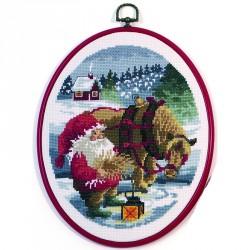 Permin | kit  Père Noël et son cheval  Permin  12-4513 | Broderie du monde