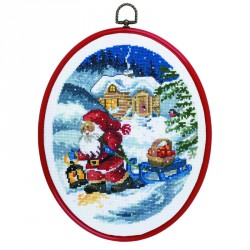 Permin | kit  Père Noël en traîneau | Permin  12-1265 | Broderie du monde