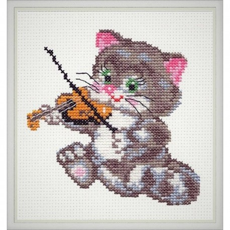 Chudo Igla  Magic Needle  15-06  Chaton Musicien  Broderie Point de croix compte