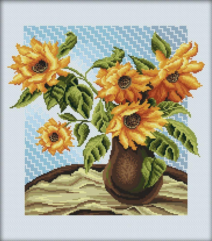 rto | m232 bouquet de tournesol | kit broderie point compté
