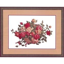 RTO  R190  Panier de roses  Broderie  Point de croix compté