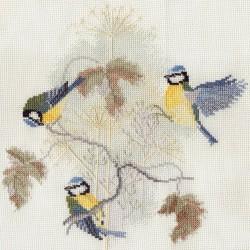 Bothy Threads   BB01  Oiseaux  Mésanges bleues  Broderie  Point de croix compté