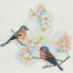 Bothy Threads   BB02  Oiseaux  Pinson  Arbres et Fleurs  Broderie  Point de croix compté