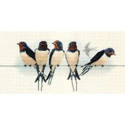 Bothy Threads   BB05  Oiseaux  Hirondelles  Broderie  Point de croix compté