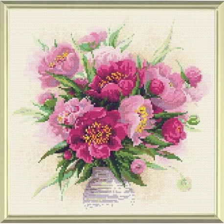 Broderie Diamant  RIOLIS  AM0009  Pivoines dans un vase