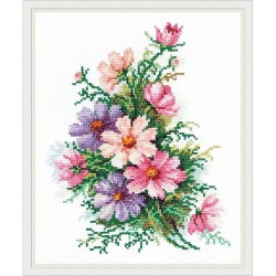 Chudo Igla  Magic Needle  40-54  Fleurs cosmos  Broderie  Point de croix compté