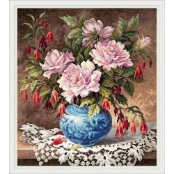 Chudo Igla  Magic Needle  40-75  Roses et Fuchsia  Kit  Point de croix compté