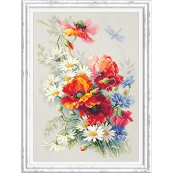 Coquelicots et marguerites  100-061  Magic Needle  Broderie  Point de croix compté  Chudo Igla