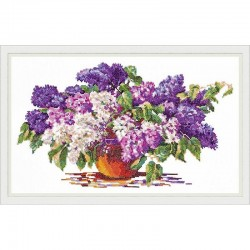 Chudo Igla  Vase de Lilas  40-28  Magic Needle  Broderie  Point de croix compté  Chudo Igla
