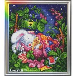 Bonne nuit mon lapin de miel  D-003  LanSvit  Broderie  Point de croix compté  Aida
