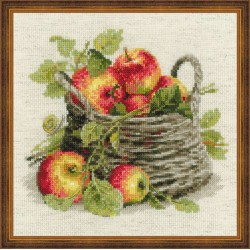 Panier de pommes mûres  1450 Riolis  Broderie  Point de croix compté