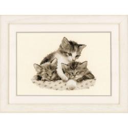 Trois petits chatons  0148985 Vervaco  Broderie  Point de croix compté