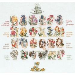 Alphabet floral  2025 Thea Gouverneur  Broderie  Point de croix compté  Lin 12 fils