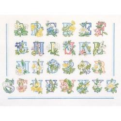 Floral  Alphabet  2089  Thea Gouverneur  Broderie  Point de croix compté  Lin 14 fils