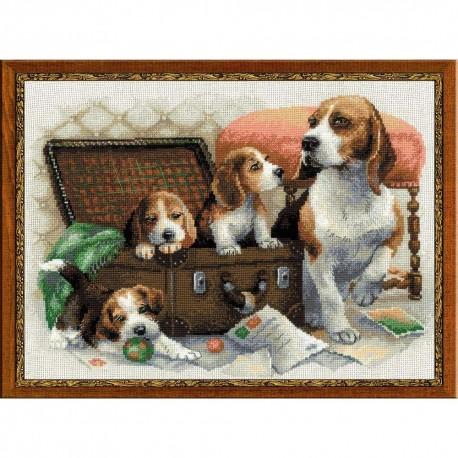 Riolis  Canine  Family  1328  Broderie  Point de croix compté  Aida 5.5
