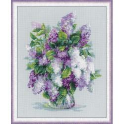 Bouquet  de  lilas  1447  Riolis  Broderie  Point de croix compté