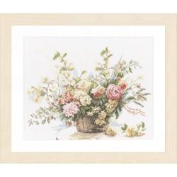 Panier de fleurs  0008004  Lanarte  Lin  Broderie  Point de croix compté