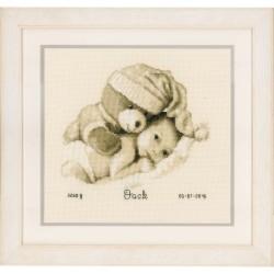 Bébé avec nounours  0155574  Vervaco  Tableau de naissance  Broderie  Point de croix compté