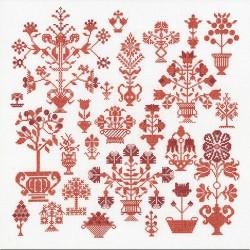 Sampler  Fleurs anciennes  2092 Thea Gouverneur  Broderie  Point de croix compté  sur  Lin 14 fils