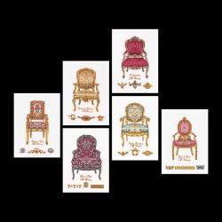 Six chaises  3068 Thea Gouverneur  Broderie  Point de croix compté  Lin 14 fils