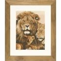 Famille Lion  0008267 Lanarte  Broderie  point de croix compté  Aïda