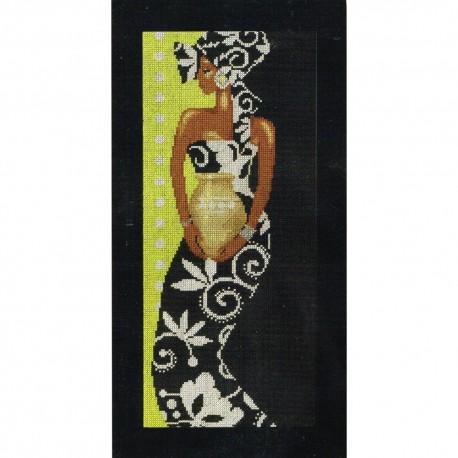 Femme Africaine avec vase   0008319 Lanarte  Broderie  Point de croix compté  Aida