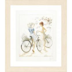 Jeunes filles à vélo  0007949 Lanarte  Broderie  Point de croix compté  Étamine