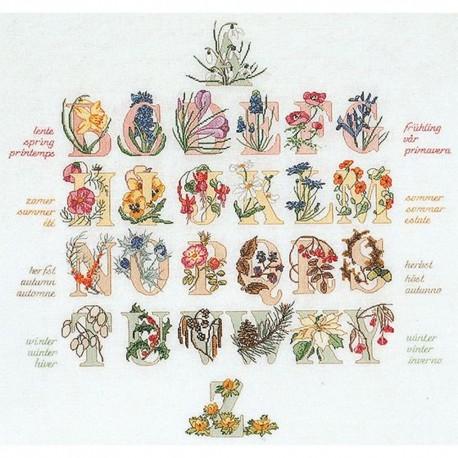 Alphabet floral  2025A Thea Gouverneur  Broderie  Point de croix compté  Aida
