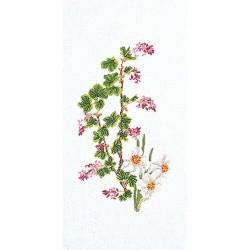 Thea Gouverneur 824  Groseillier en floraison   Broderie  Point de croix compté  sur  Lin 12 fils