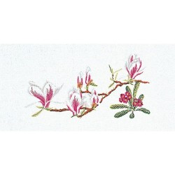 Thea Gouverneur 826  Magnolia Primula   Broderie  Point de croix compté  sur  Lin 12 fils