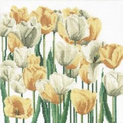 Thea Gouverneur 3065  Tulipes  Broderie  Point de croix compté  sur  Lin 12 fils