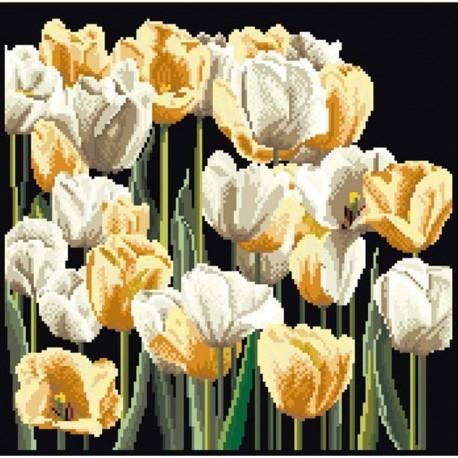 Thea Gouverneur 3065-05  Tulipes  Broderie  Point de croix compté  sur  Aida noir