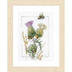 Abeilles sur fleurs de Chardon  0021870  Lanarte  Broderie  Point de croix compté  Aida