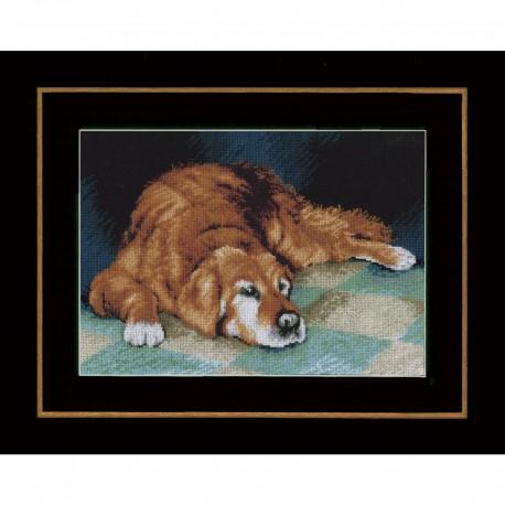 Chien endormi  Lanarte 0147568  Broderie  Point de croix compté  Aida