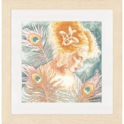 Lanarte 0148264  Jeune femme avec plumes de paon  Broderie  Point de croix compté  Lin