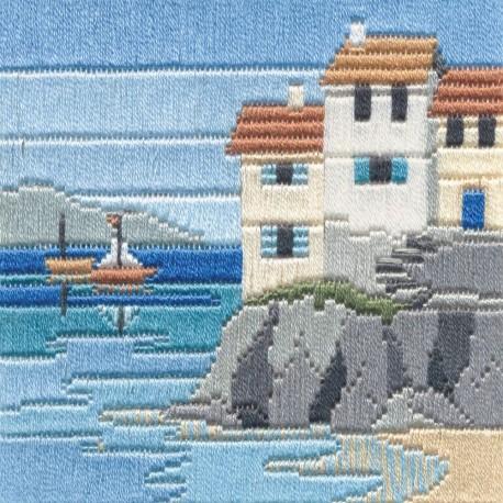 Bothy Threads SLS1  Headland Cottages  Broderie  Point lancée  fond pré-imprimé