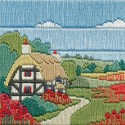 Bothy Threads SLS6  Poppy Cottages  Broderie  Point lancée  fond pré-imprimé