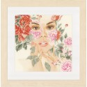 Lanarte 0149291  Visage aux fleurs  Broderie  Point de croix compté  Aida