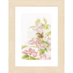 Lanarte 0149989  Fleurs roses avec petit oiseau  Broderie  Point de croix compté  Étamine