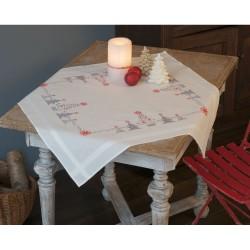 Vervaco 0166603  Nappe  Arbres de Noël rouge gris  Broderie  Point de croix pré-imprimée