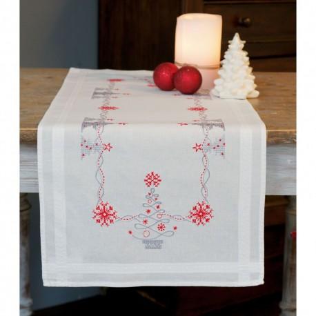Vervaco 0167023  Chemin de table  Arbres de Noël rouge gris  Broderie  Point de croix pré-imprimée