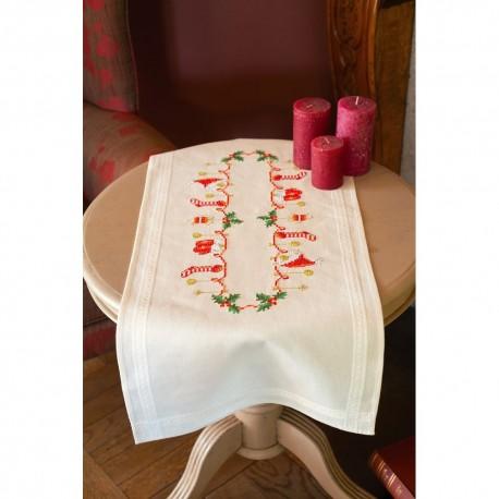 Vervaco 0158094  Chemin de table  Noël  Broderie  Point de croix pré-imprimée