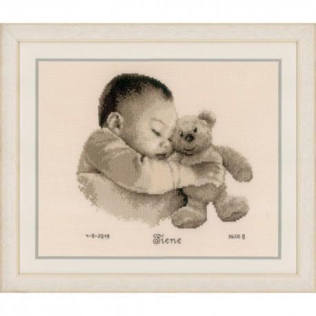 Vervaco 0163566  Bébé avec ours  Broderie  Point de croix compté  sur  Aida
