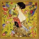 Kit point compté   Femme à l'éventail  d'après  Klimt 1226  Riolis